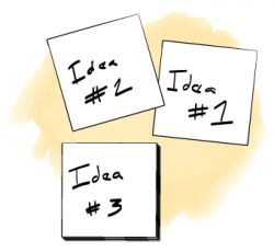 Post-its work great for brainstorms that require grouping