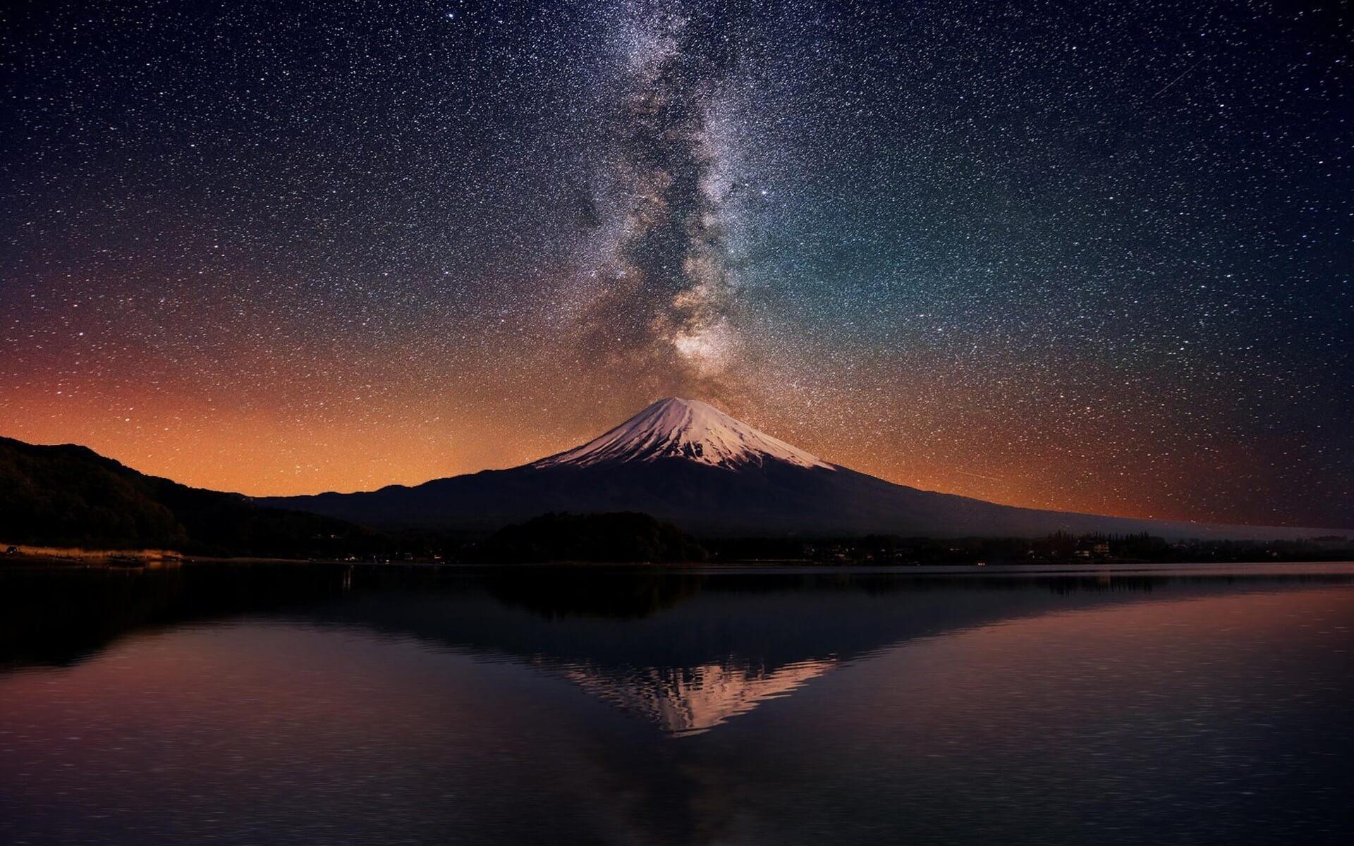 Mount Fuji and stars